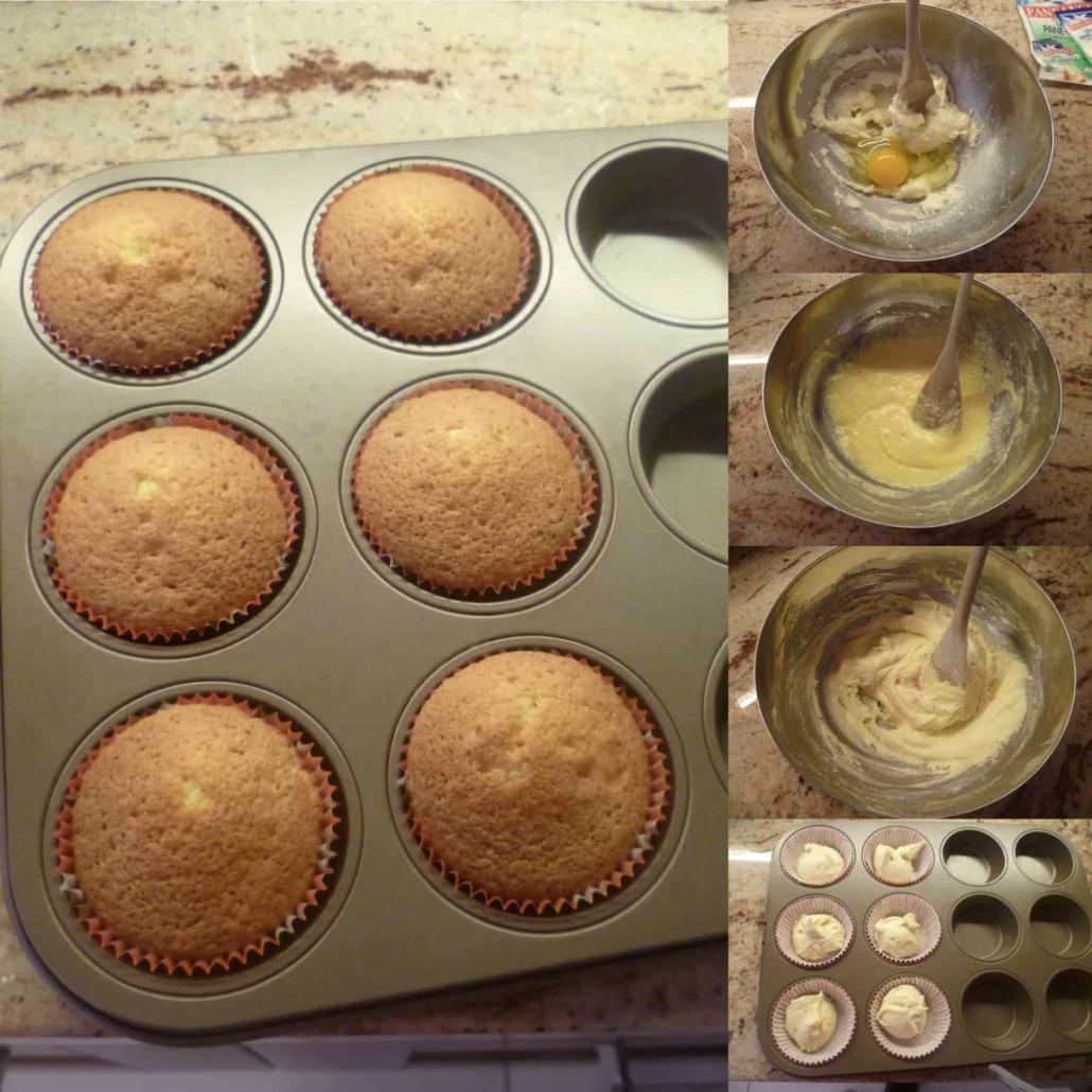 fasi per preparare la base del cupcake