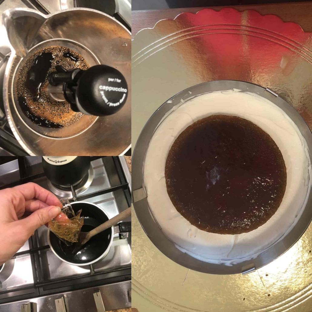 Preparazione della gelée al caffè da usare come inserto per l'irish coffee cake