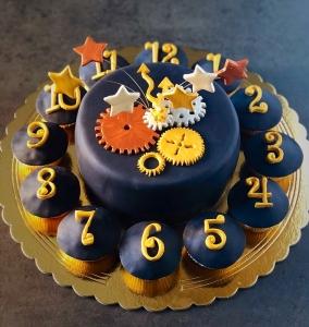 irish coffee cake cmpleta con cupcakes a formare un orologio