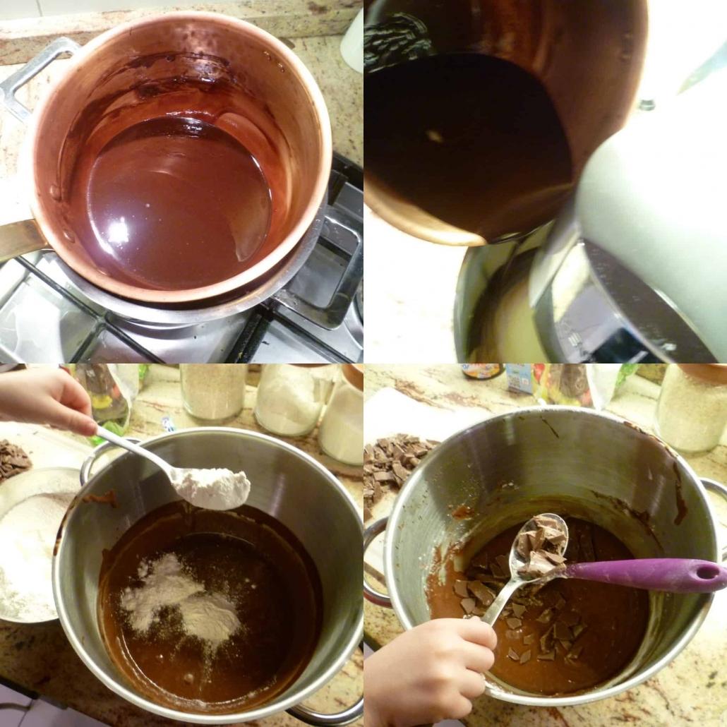 fondere il cioccolato e preparare l'impasto dei brownies
