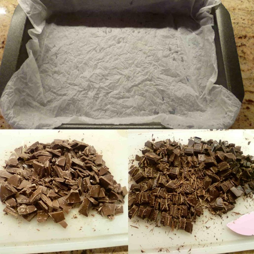 cioccolato tritato e teglia
