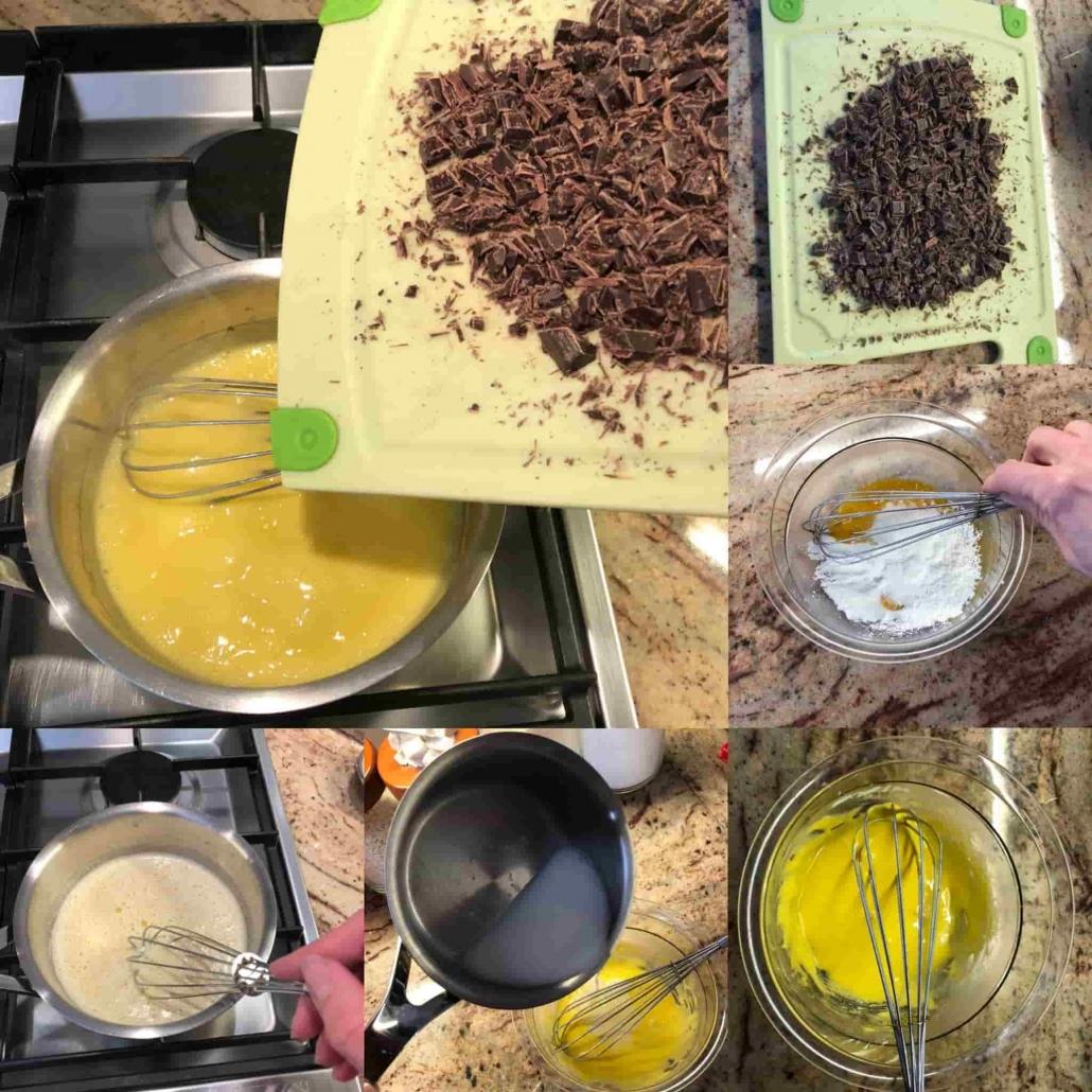 fasi della preparazione della crema al cioccolato