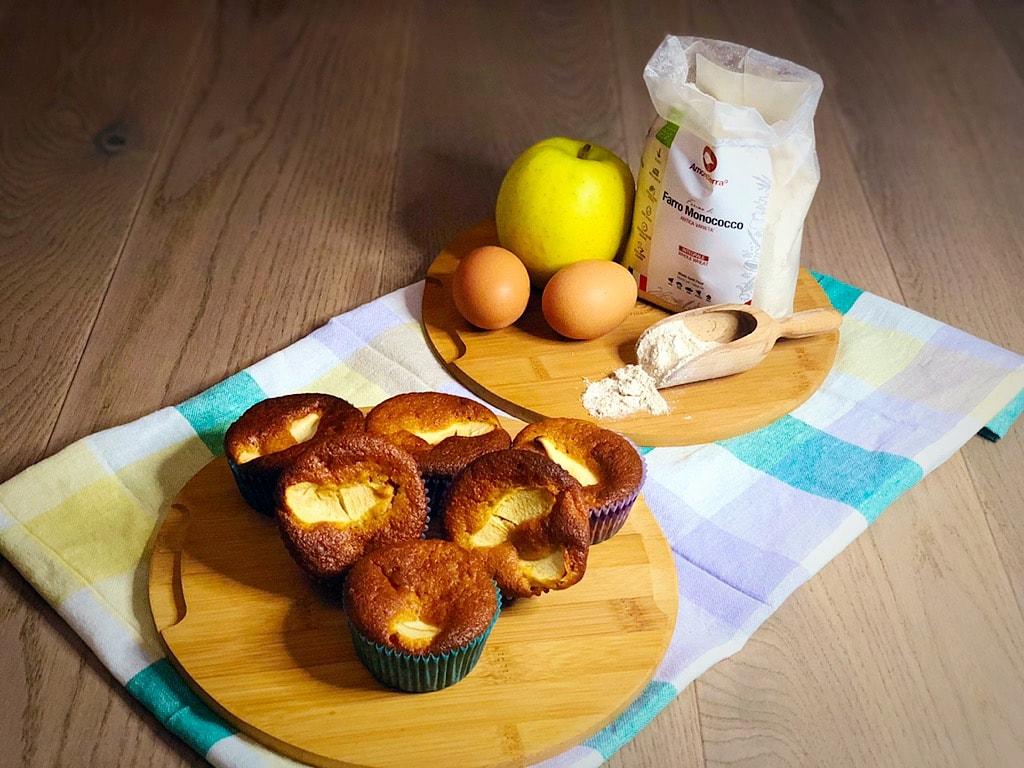 muffin al farro e mele con ingredienti