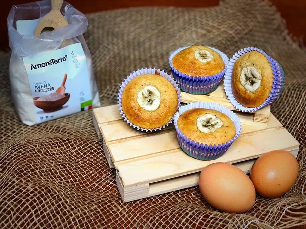 muffin d'avena alla banana con farina amoreterra e uova