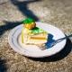 fetta torta pulcino strabico tagliata, stratificazione