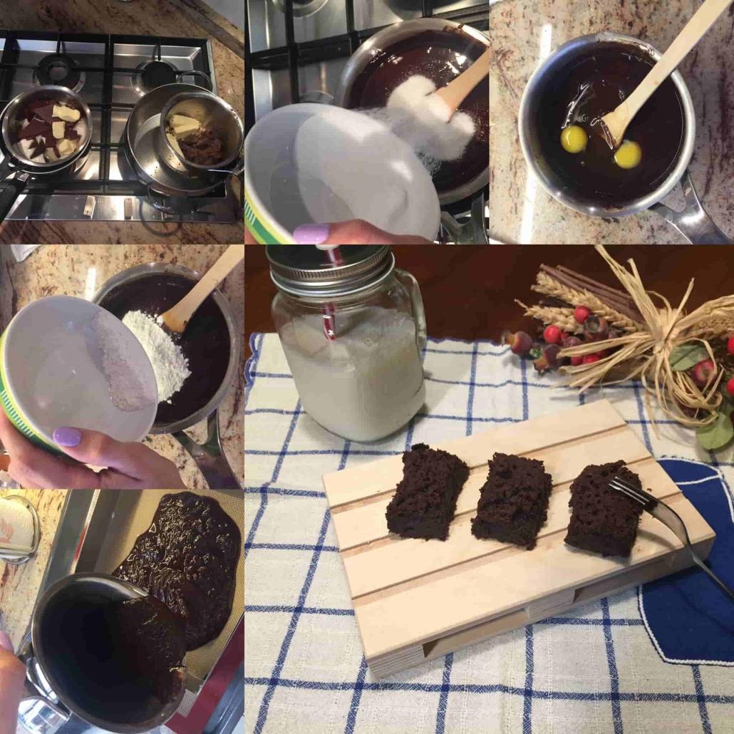 fasi per preparare i brownies al cioccolato fondente e cioccolato ai lamponi
