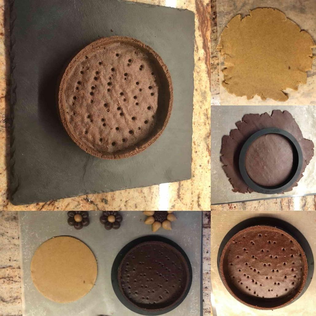 fasi per stendere la frolla di farro al cacao e la frolla normale
