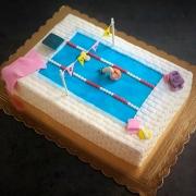 swimming pool dall'alto inclinata