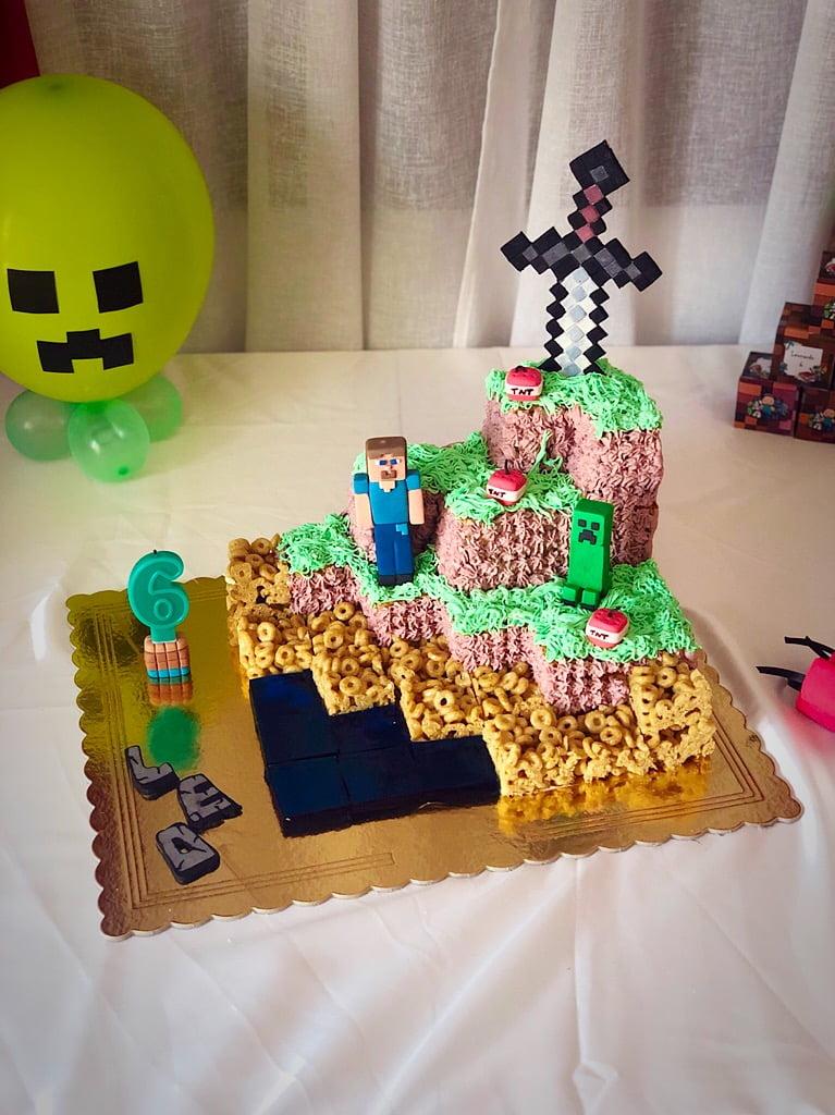 torta Minecraft e palloncino creeper
