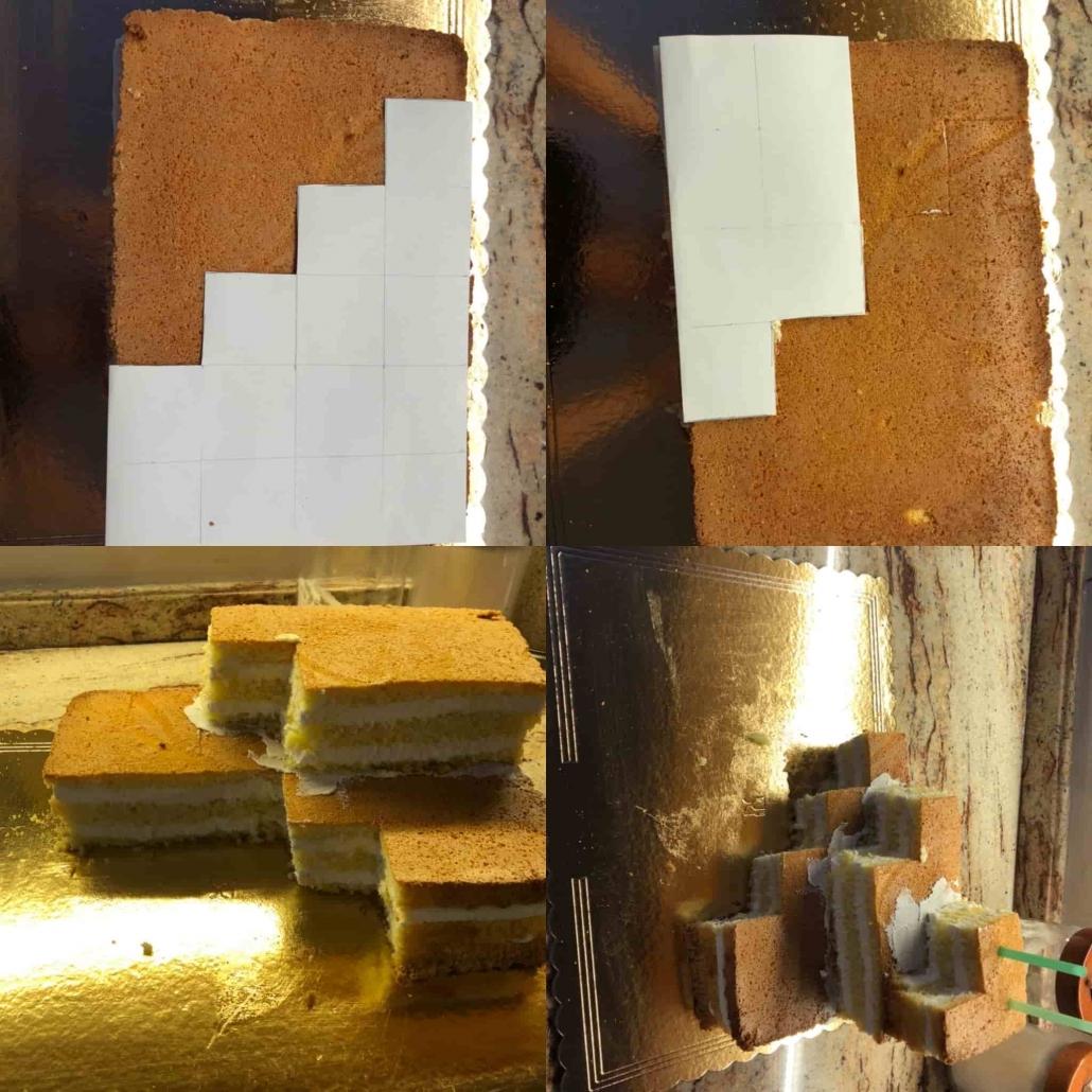 farcire e tagliare il pan di spagna per la torta minecraft