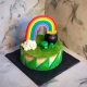rainbow fresh cake decorata con pentola d'oro alla fine dell'arcobaleno