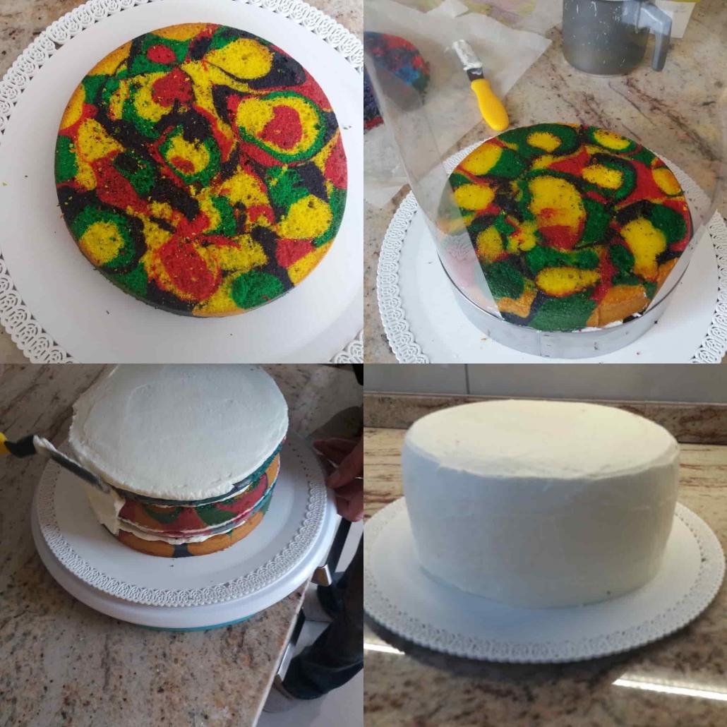 farcire e stuccare il pan di spagna multicolore