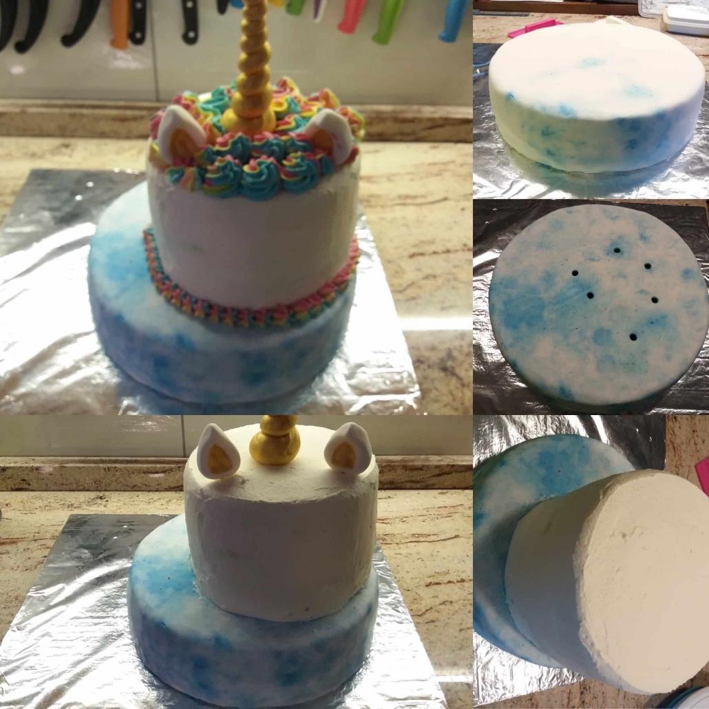 assemblare la unicorn cake