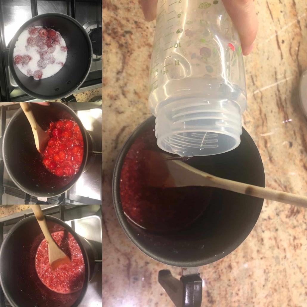 fasi per preparare la bagna al lampone