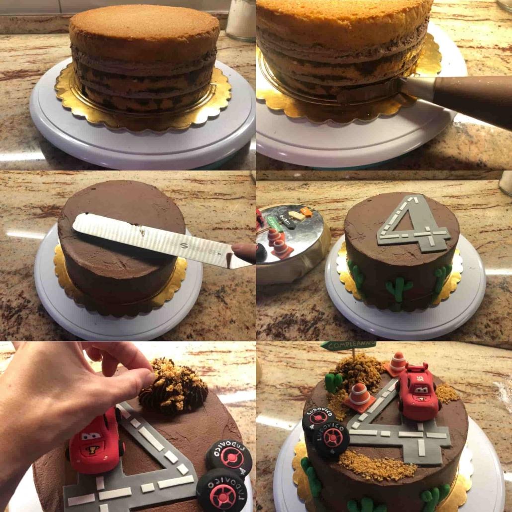 fasi per decorare la torta cars