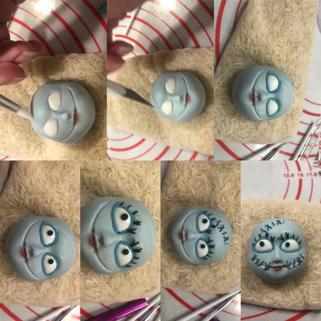 Fase 2 per preparare il viso di Sally