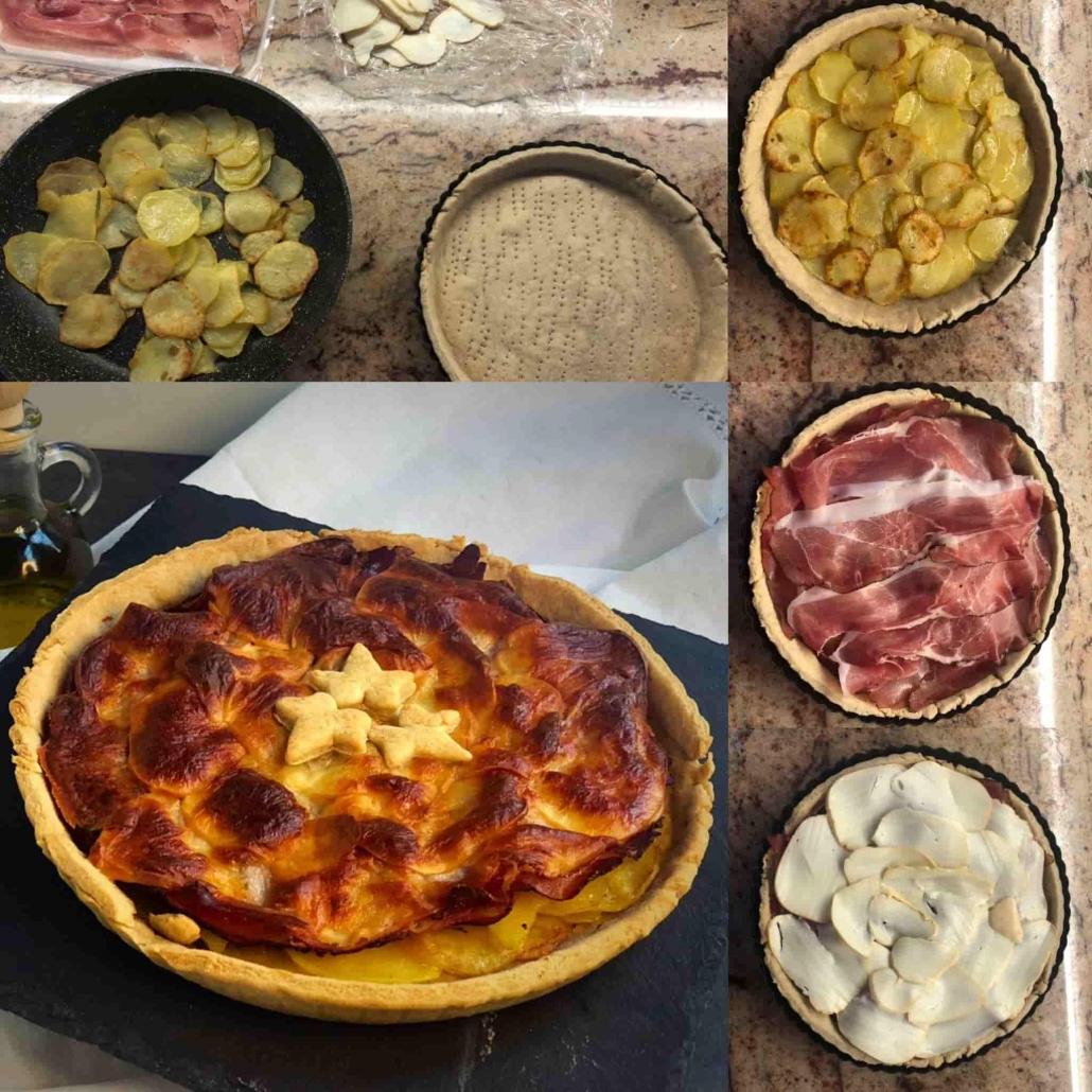 farcire la torta salata con speck, patate e scamorza