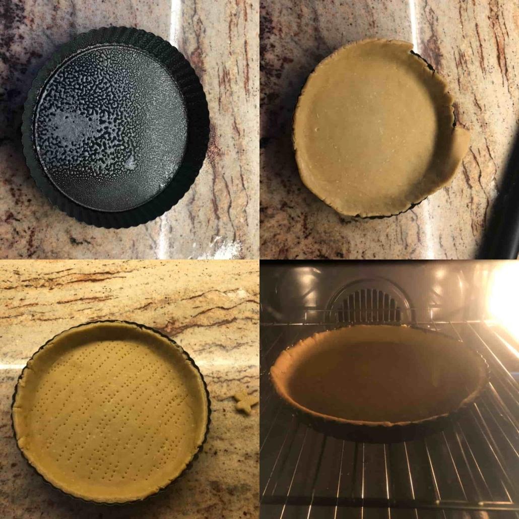 fasi per la cottura in bianco della torta salata