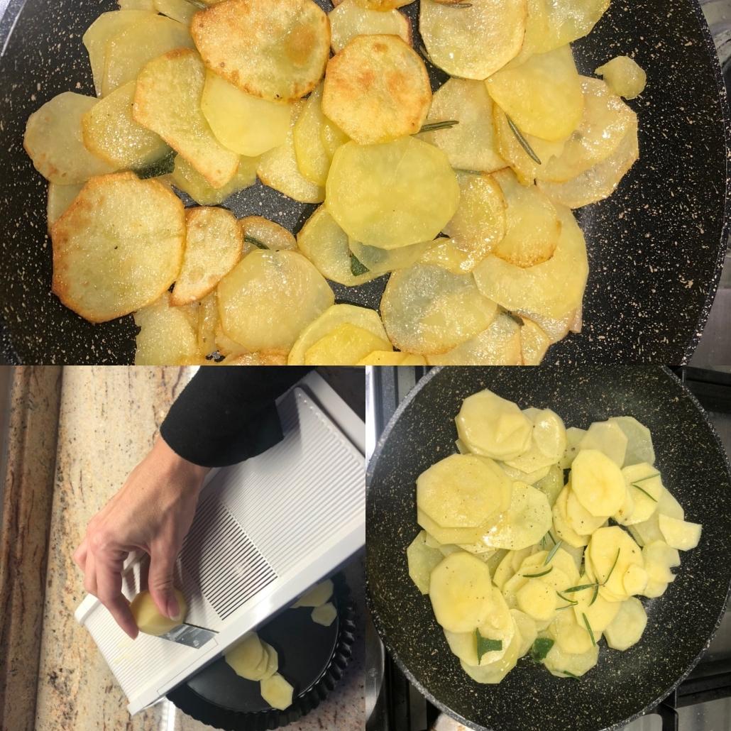 preparare le patate per la torta salata con lo speck