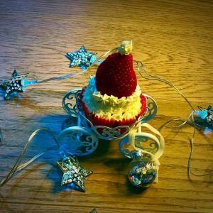 cupcakes con cappello di babbo natale