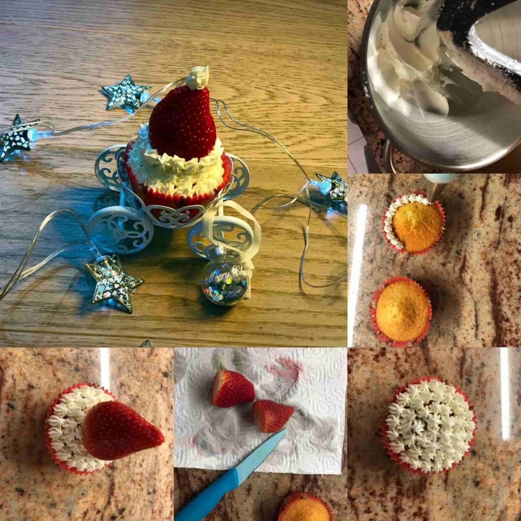 fasi per decorare i cupcakes a cappello di babbo natale