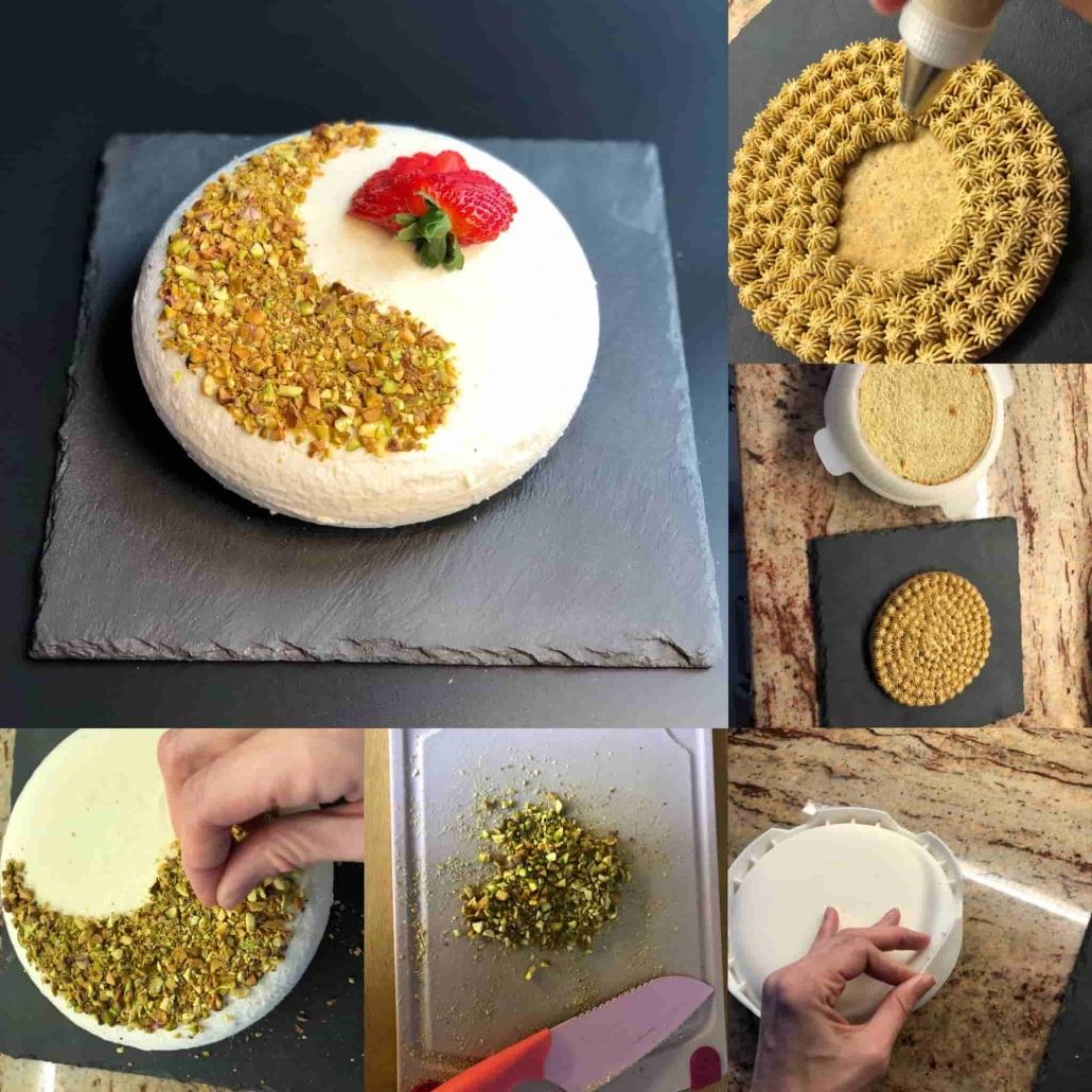 fasi per assemblare e decorare l'amor di pistacchio