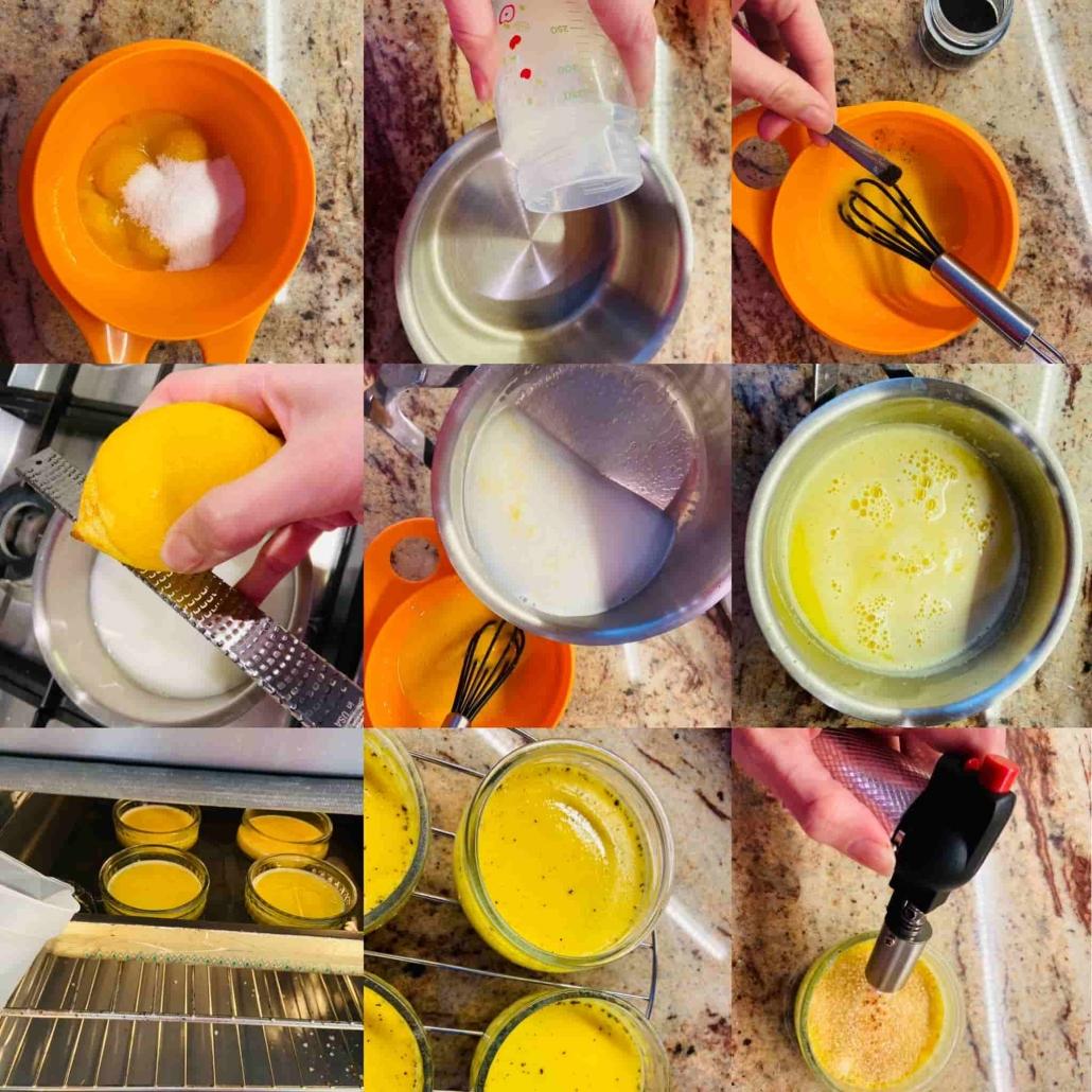 fasi per preparare la Crème brûlée