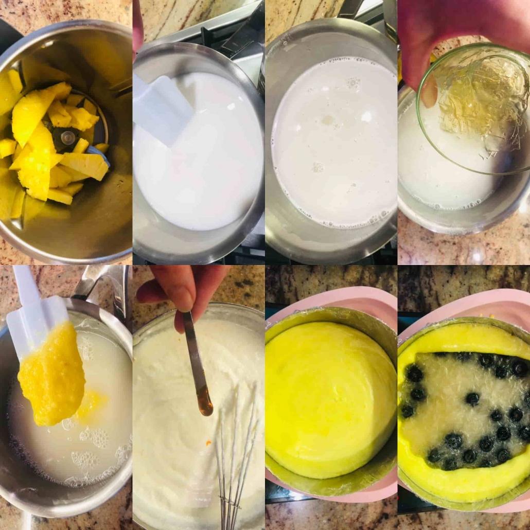 Fasi per preparare la bavarese all'ananas e latte di mandorle