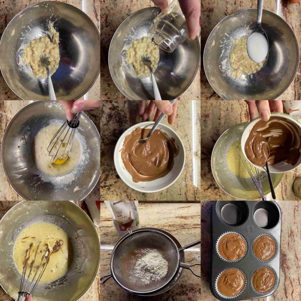 fasi per fare i muffins al cioccolato e banana